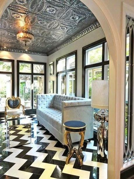 black and white large scale chevron floor tin ceiling