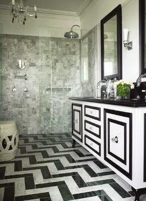 black white chevron floor in bathroom