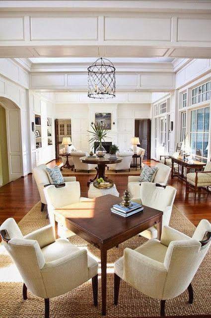 large open floor plan white kitchen living room