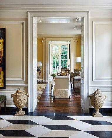 traditional patterned marble floor foyer