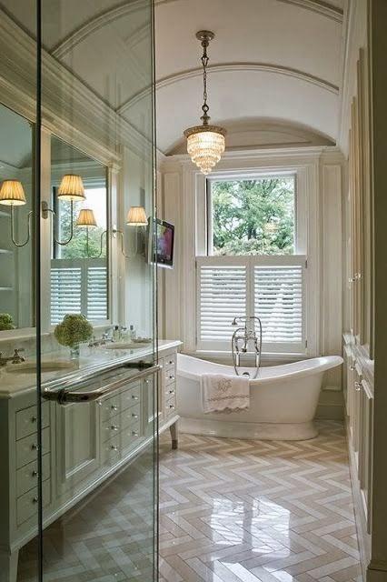 traditional master bathroom chevron tile