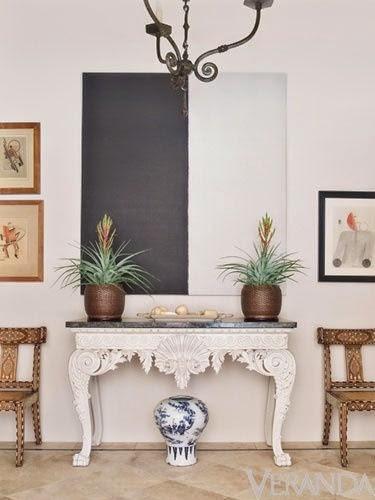 white walls black modern abstract art