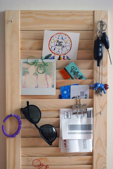 DIY Hallway Wall Organizer from a Shutter