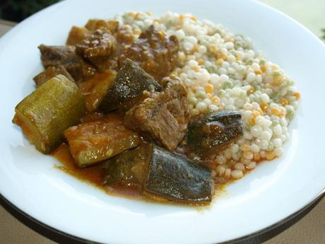 Iranian Zucchini and Beef Stew with Tri-Colour Cous-cous