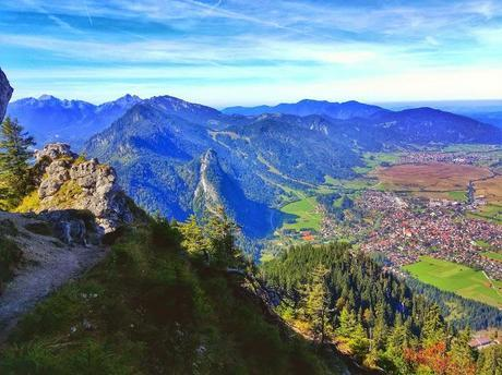 Views over Oberammergau and the Alps from the more technical route up the mountain.