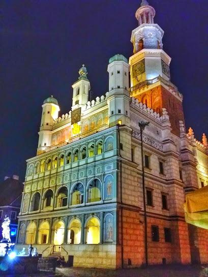 The historic Poznan Town Hall at night.