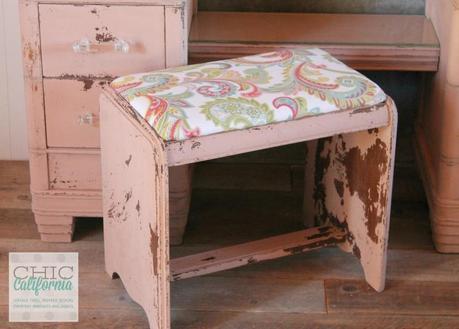 Milk Paint Vanity Bench by Chic California