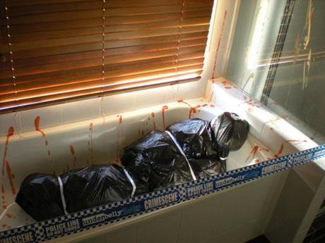 bathroom corpse body bag