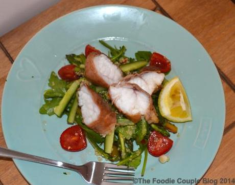 Parma ham wrapped monkfish with a chargrilled asparagus for Monkfish and parma ham recipe