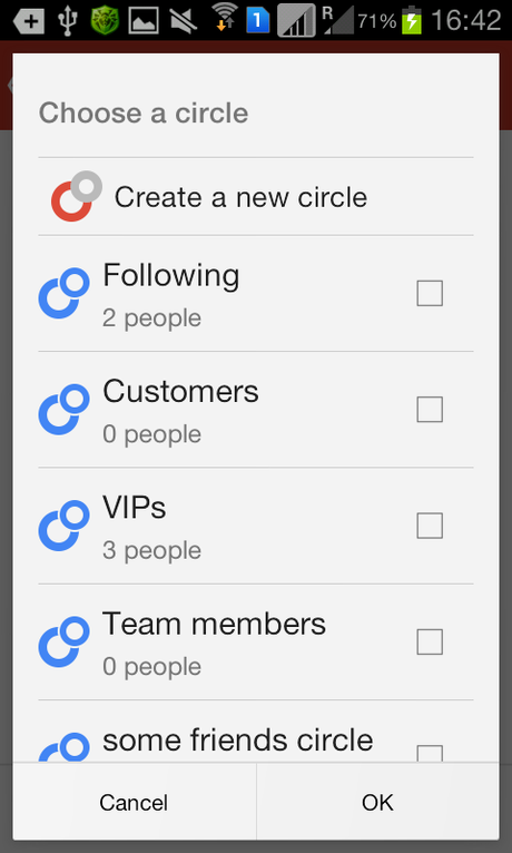 Image: Choose your G+ Circle to add people