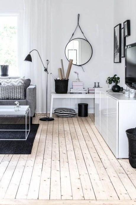 Scandinavian, living room, interiors, home, decor, decorating, black, white, wood