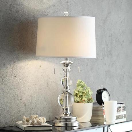 INSPIRE Q Quinn Crystal Mercury Base 2-Light Accent Table Lamp