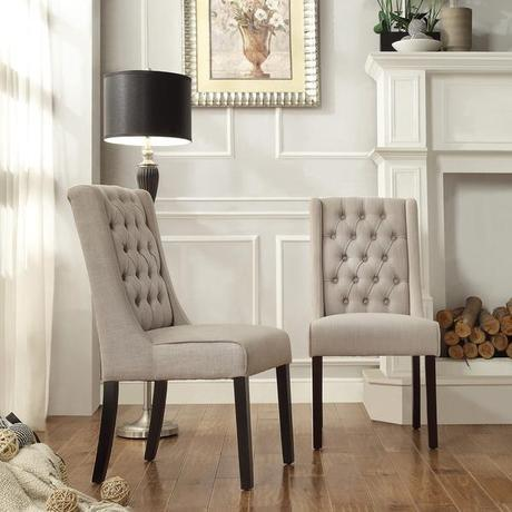 INSPIRE Q Evelyn Oatmeal Linen Tufted Back Hostess Chairs (Set of 2)