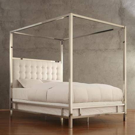 INSPIRE Q Solivita White Linen Button Tufted Metal Poster Bed