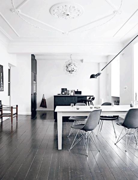 Danish apartment in dark tones