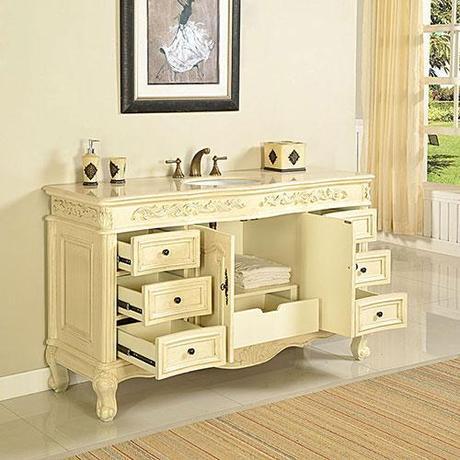 Elegant French Provincial Bathroom Vanity Tasos1500 White Or Walnut Colour