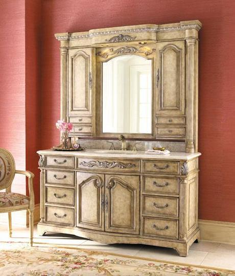 Monticello French Provincial Bath Vanity with Hutch
