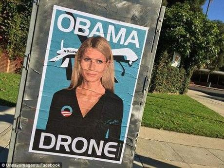 Funny stuff: Posters put up in Paltrow's neighborhood