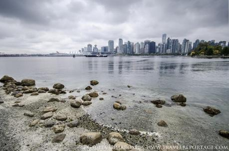 The beautiful skyline of Vancouver as seen from Stanley Park