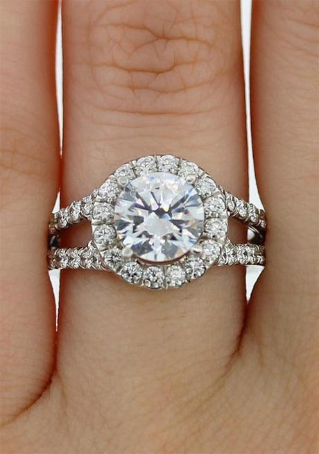 Halo Split Shank Engagement Ring Semi Mounting