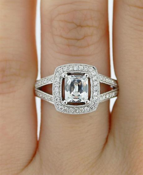 Cushion Halo Engagement Ring Semi Mounting