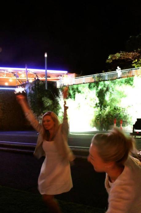 Doing the sparkler dance with Brigid.