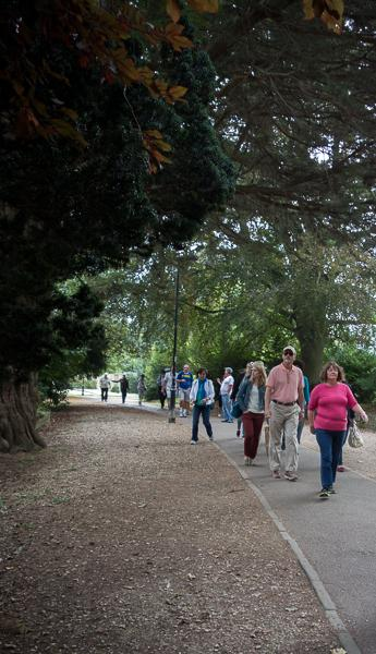 Tour group on Gravel Path in Bath, UK