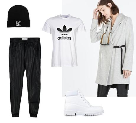 outfit inspiration outfit of the day collage minimal sportive zalando adidas original t-shirt timberland look a like knock off budget white boots nelly leather look track pants vero moda cuff zara light gray wool winter coat karl lagerfeld beanie hat fashion blogger turn it inside out belgium belgie inspiratie mode fall winter 2014 how to wear
