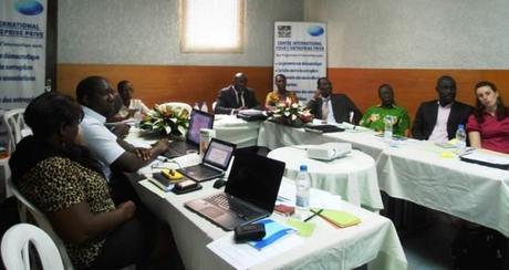 Network members attending the meeting in Abidjan.