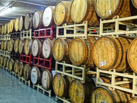 Barrel aging room at Sun King brewery