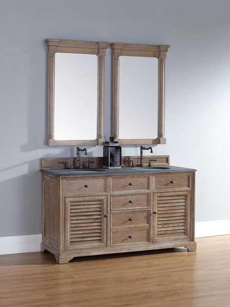 Driftwood Vanity with Louvered Doors