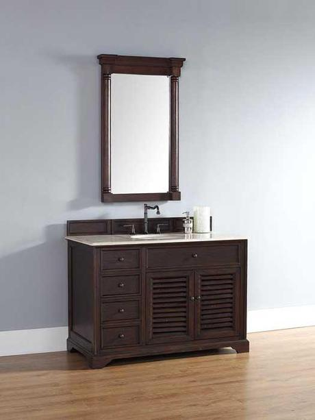 Single Bath Vanity with Louvered Panels