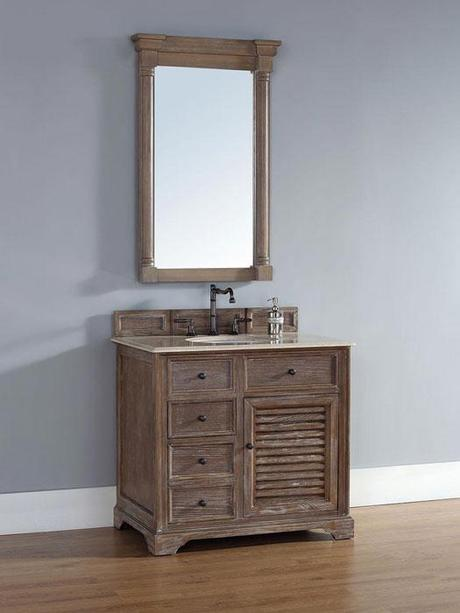 Prata Small Driftwood Vanity with Louvered Door Panel