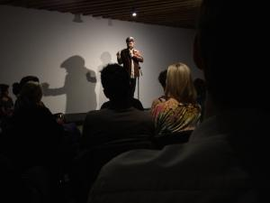 Trevor Lock performed in front of a blank white wall