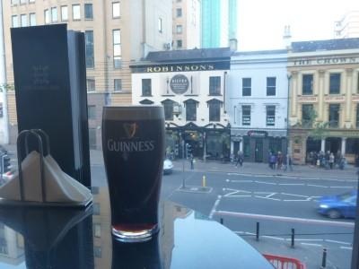 A fresh Guinness with a view onto Great Victoria Street