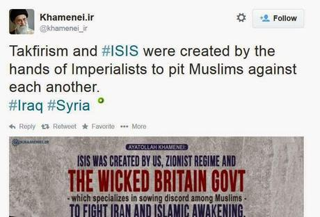Ayatollah Khamenei tweets that ISIS was created by wicked US, Zionist, & British governments to sow discord between Muslims