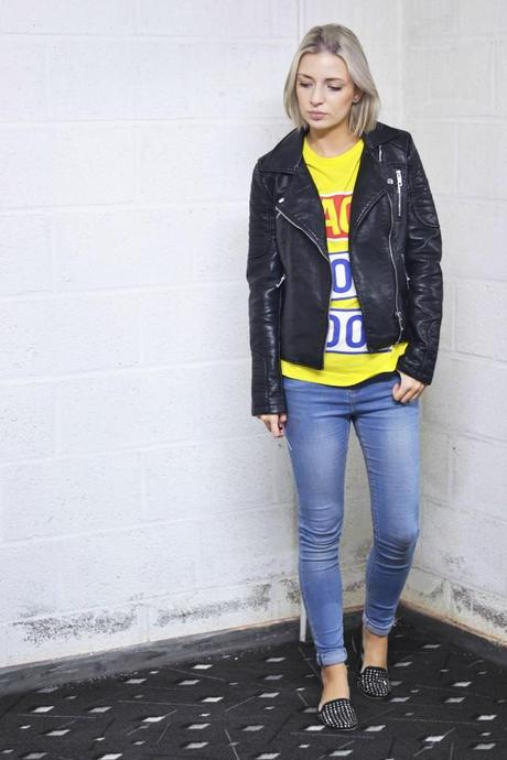 yellow t-shirt top back for good slogan how to wear leather biker jacket 2014 asos ridley brooklyn wash jeans zara loafers studded outfit of today outfit post fashion blogger turn it inside out belgium belgie mode fall winter trends 2015 streetstyle inspiration
