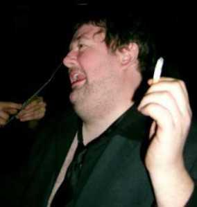 Johnny Vegas at a tribute gig after Malcolm died