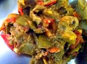 Indian Flat/Broad Beans Recipe with Potatoes Tomato Brinjal Saem Baingan Sabzi
