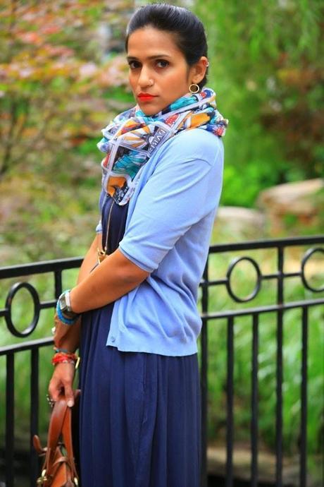 Maxi / Earrings / Necklace / Bracelets / Scarf -  c/o Lou Lou Boutiques Rings - Crazy & Co.  Cardigan - Calvin Klein Collection Belt - Coach Shoes - ASOS Bag - Mulberry Tanvii.com