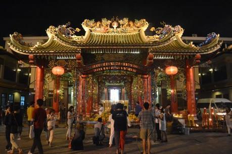 Bangkok Vegetarian Festival in Chinatown Temple at Night