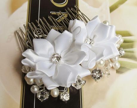 <White Floral Rhinestone and Pearl Wedding Hair Comb by FancieStrands alt=