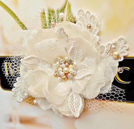<Champagne Bridal Hair Flower by FancieStrands alt=