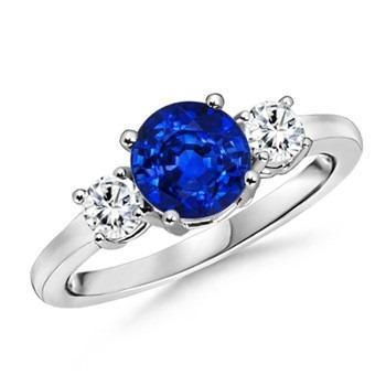round sapphire and diamond three stone ring | blog.angara.com