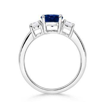 round sapphire and diamond three stone ring side view thumb | blog.angara.com