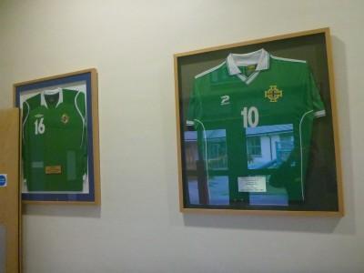 Josh Magennis and Gary Browne's Northern Ireland shirts.