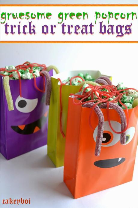 popcorn covered with candy melts for halloween in fun trick or treat bags