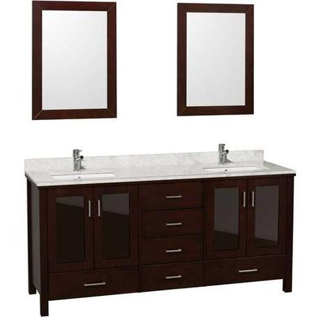 Espresso Vanity with White Marble Top