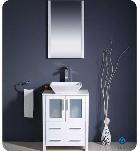 Torino White Vanity with Glass Doors