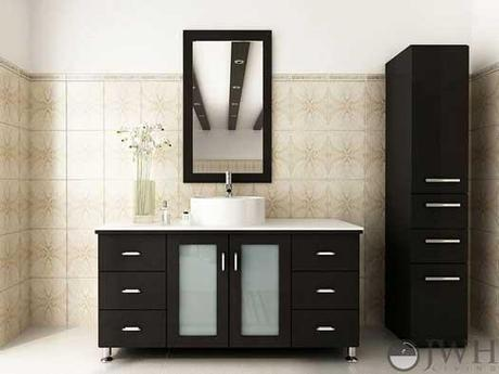 Espresso Vanity with Stone Top and Glass Doors